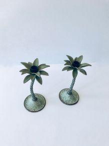 Paire de bougeoirs palmier en métal