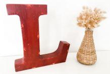 Lettre industrielle «L» en metal rouge