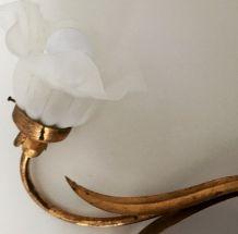 Lampe fleur doré 1960