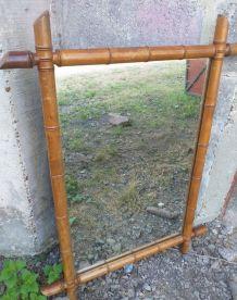 Ancien miroir bambou vintage