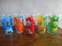 5 verres à orangeade vintage