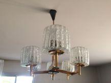 Lustre année 1970 ,6 lampes cristal