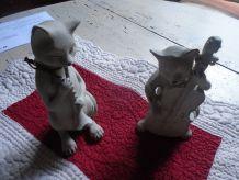 2 chats musiciens en bois gris clair
