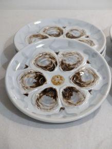 8 assiettes à huîtres St Amand