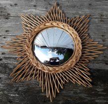 miroir étoile en rotin osier, sorcière bombé