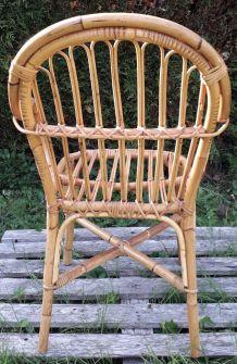 fauteuil en rotin années 60