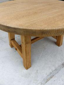 table basse ronde en bois brut