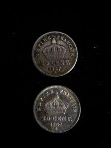 lot de 2 pièces de 20 centimes napoléon III
