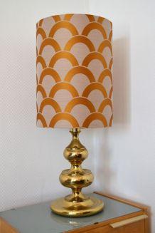 Lampe de table dorée des années 70