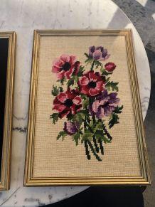 Cadres canevas fleurs  vintages