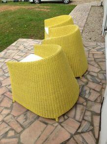 vends 3 fauteuils en rotin /osier de couleur jaune avec cous