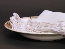 6 Serviettes de Table Brodées Main Anciennes