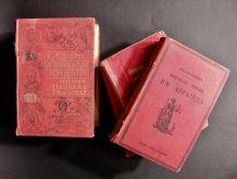 Lot de 4 Livres Français et Italien Anciens Rouges 1900
