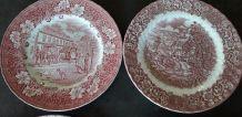 4 assiettes  dépareillées en porcelaine anglaise