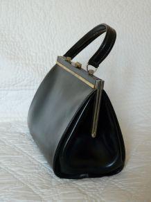 Sac à main noir type sac médecin cuir vintage