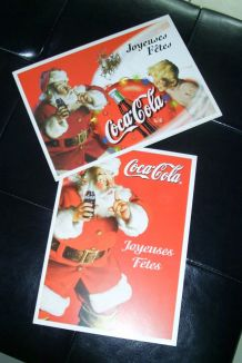 Lot de 2 CARTES VOEUX COCA COLA NOEL