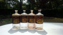 Flacons d'apothicaire en verre lot de 4