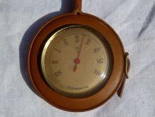 thermomètre  dans  étui  cuir,  vintage