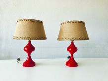 Paire de lampes de chevet rouge