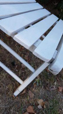 fauteuils de jardin pliants blancs en bois des années 70