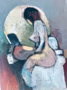 Tableau original ancien femme nue