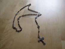 Chapelet ancien en métal avec perles en métal souvenir