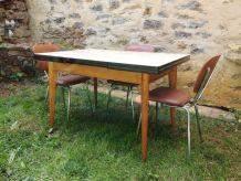 table formica bois et chaises