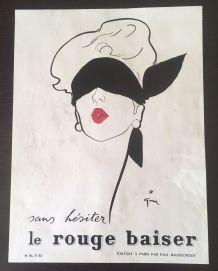 Publicité Rouge Baiser par René Gruau