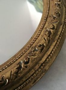 Miroir mural ovale cadre plâtre doré 22cm