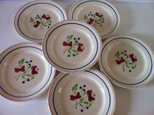 6 assiettes plates anciennes KG Lunéville