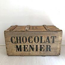 Grand caisse en bois des Chocolats Menier vintage 50's