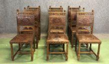 Suite de 9 chaises Henry II en noyer et cuir - années 1900