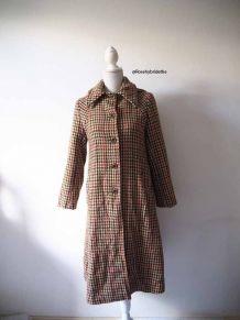 Long manteau en tweed motif pied de poule vintage 70's