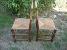 Paire de chaises avec assise et dossier en paille