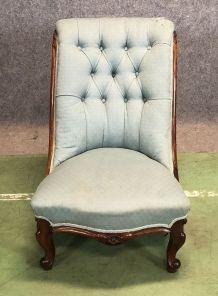 Chaise basse Victorienne en acajou - fin XIXème