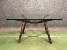 Table design années 70 - piétement en noyer