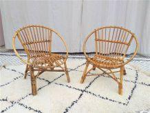 Paire de fauteuils rotin corbeille enfant vintage