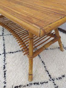 Table basse rotin vintage années 70