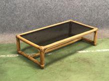 Table basse en bambou et verre - années 60