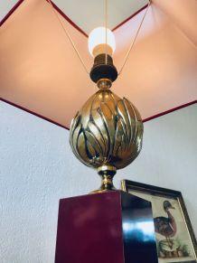 Grande lampe art déco laiton et bordeau