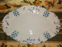 Grand plat fleuri ovale à laçage de losanges faience vintage