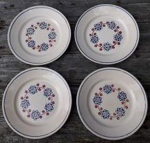 4 assiettes à dessert BADONVILLER, modèle Bagatelle
