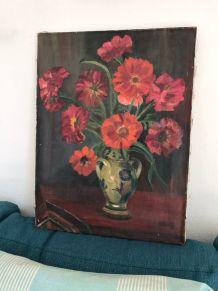 Peinture ancienne, nature morte bouquet huile sur toile