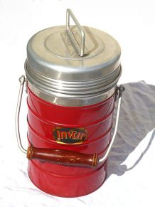Ancien thermos glacière rouge INVAR , vintage