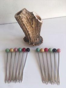 Porte-piques escargots tronc d'arbre 50's