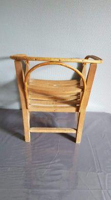 fauteuil enfant bois et rotin vintage années 50