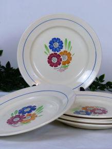 6 assiettes plates K&G Lunéville