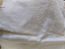 Drap brodé lit 2 personnes coton blanc Livraison à voir