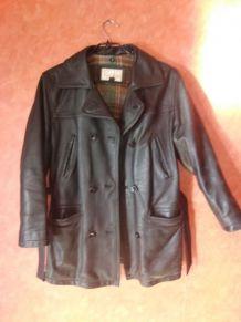 veste 3/4 cuir noir