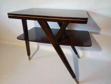 Table d'appoint vintage bois foncé